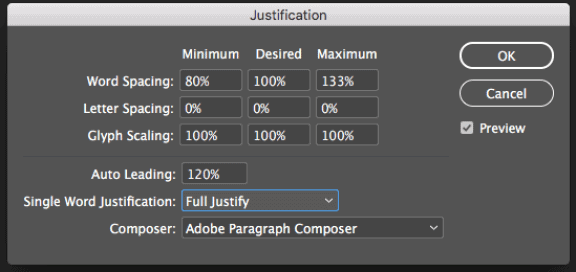 Default settings for justification in Adobe InDesign