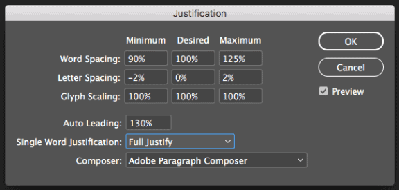 My revised settings for justification in Adobe InDesign